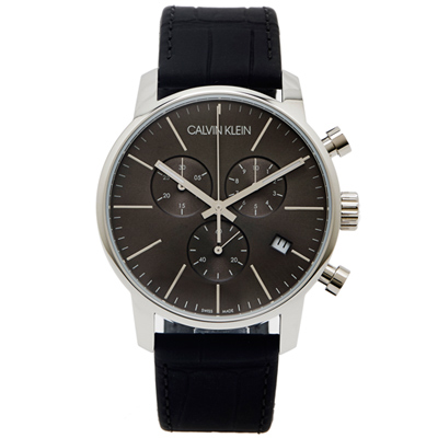 CK Calvin Klein City 城市時尚三眼皮革手錶-灰黑/43mm