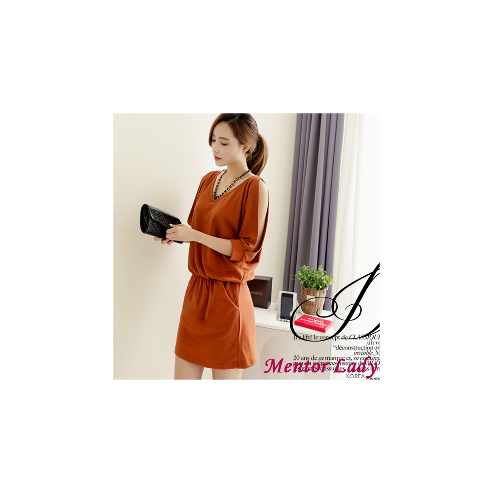 【Mentor Lady】露肩飛鼠袖優雅束腰洋裝 (棕色)