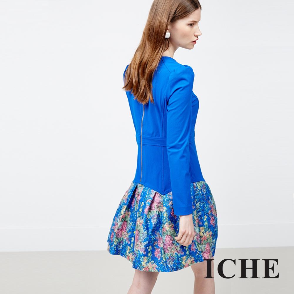ICHE 衣哲 立體拼接印花洋裝