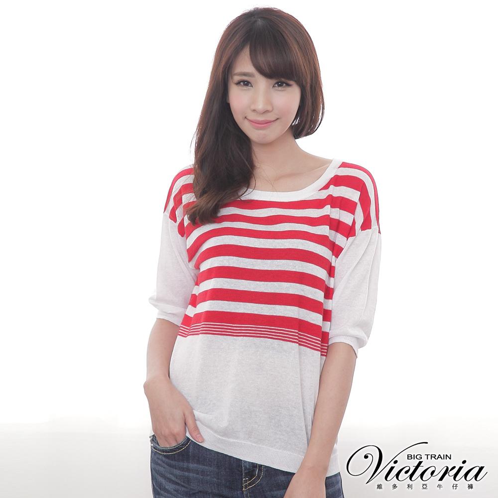 Victoria 條紋落肩五分袖線衫-女-白底紅條