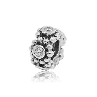 Pandora 潘朵拉 透明鋯石鑲珠墜 間隔圈 純銀墜飾 串珠