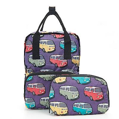 英國ECO CHIC方形折疊收納後背包大-可愛巴士 紫