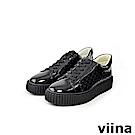 viina -休閒系列-亮皮菱格紋厚底休閒鞋-黑