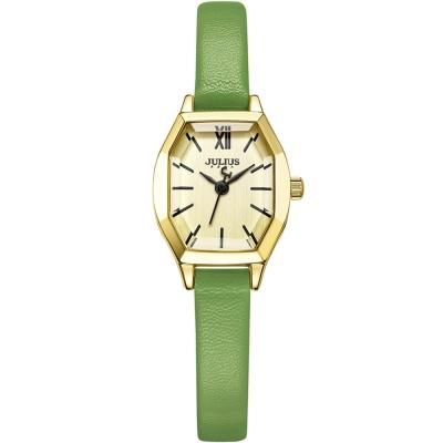 JULIUS聚利時 橡樹風情立體切割鏡面皮帶錶-金x橡樹綠/20.5X18mm
