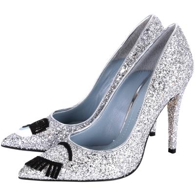 Chiara Ferragni Flirting 眨眼亮片尖頭高跟鞋(銀色)