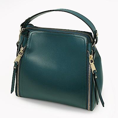 ANNA DOLLY 拉鍊造型兩用提包 古典綠