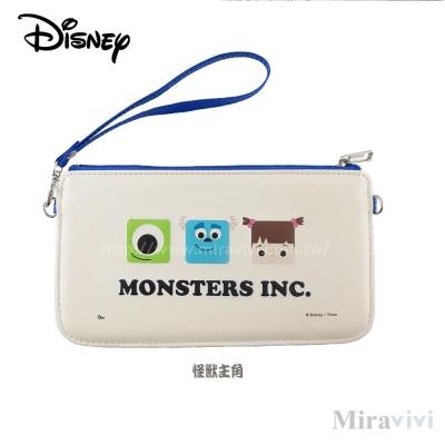 Disney迪士尼皮質橫式手機袋/萬用包/手腕袋_方塊系列_怪獸主角