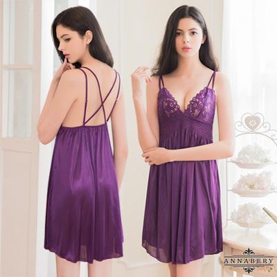 大尺碼Annabery深紫高腰式雙肩帶柔緞睡衣 紫色 L-2L Annabery
