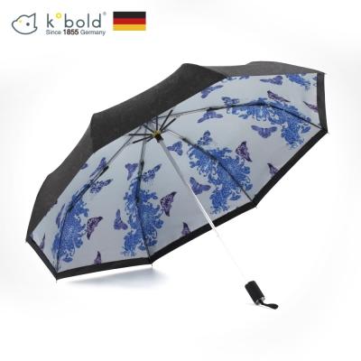 德國kobold酷波德 抗UV零透光智能防曬-青花瓷系列 雙層降溫三折傘-蝶戀花