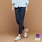 ILEY伊蕾 時尚英倫風格紋九分褲魅力價商品(藍/紅)