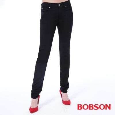 BOBSON 女款低腰膠原蛋白拉毛小直筒褲-黑色