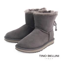 Tino Bellini 不修邊羊皮毛裡繫帶短筒平底雪靴_灰