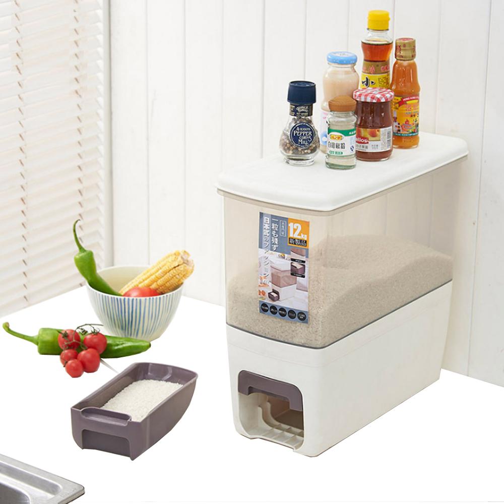 PUSH!廚房居家用品塑膠計量儲米桶密封防潮防蟲儲米箱雜糧儲存桶12kg I72