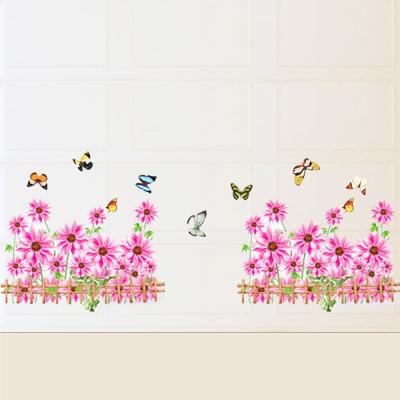 B-015創意生活系列--踢腳線粉雛菊 大尺寸高級創意壁貼 / 牆貼