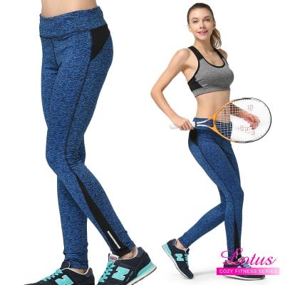 運動褲 都會微壓後拉鍊袋機能輕量運動九分褲-冰河藍(M-XL) LOTUS