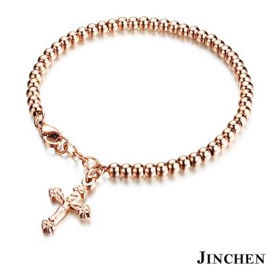 JINCHEN 白鋼珠珠十字架手鍊