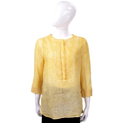 ERMANNO SCERVINO 蕾絲袖拼接黃色棉麻襯衫式上衣