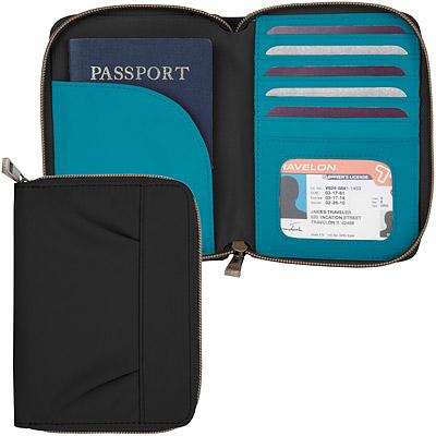 TRAVELON 摺紋拉鍊防盜證件護照夾(黑藍)