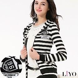 LIYO理優運動風條紋連帽外套(黑)