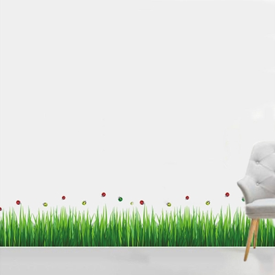 A-073花草系列-草地甲殼蟲踢腳線大尺寸高級創意壁貼 / 牆貼