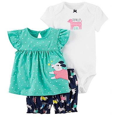 Baby unicorn 綠點小狗短袖套裝3件組