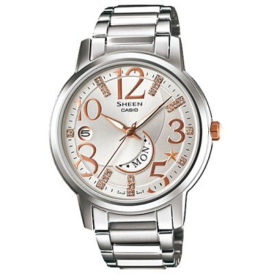 SHEEN SWAROVSKI夢幻上弦月不鏽鋼指針腕錶(SHE-4028D-7A)-白/37mm