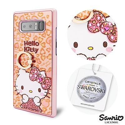 三麗鷗 Kitty Samsung Note8 施華彩鑽鏡面指環扣手機殼-豹紋凱...