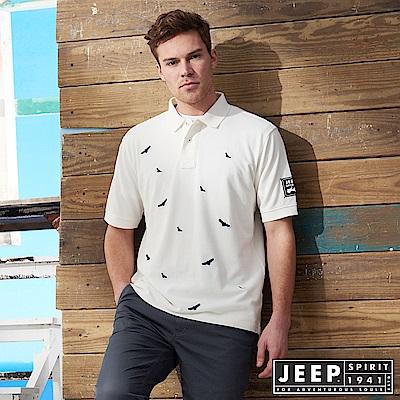 JEEP 滿版造型刺繡短袖POLO衫-白色