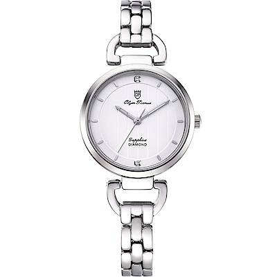 Olym Pianus 奧柏表 典雅直線壓紋時尚腕錶-白 2483LS