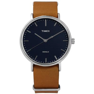 TIMEX 天美時 INDIGLO 美國指標生活簡約真皮手錶-深藍x卡其/41mm