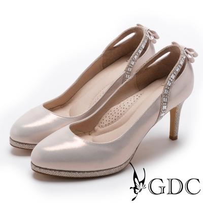 GDC-後水鑽拉帶典雅氣質跟鞋(婚鞋)-粉色