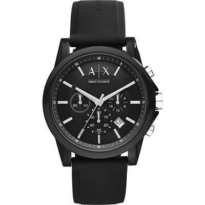 A│X Armani Exchange 時尚玩家計時腕錶-黑/44mm