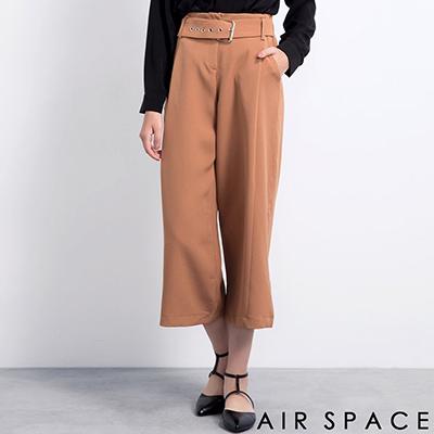 AIR-SPACE-金屬排釦高腰西裝寬褲-卡其