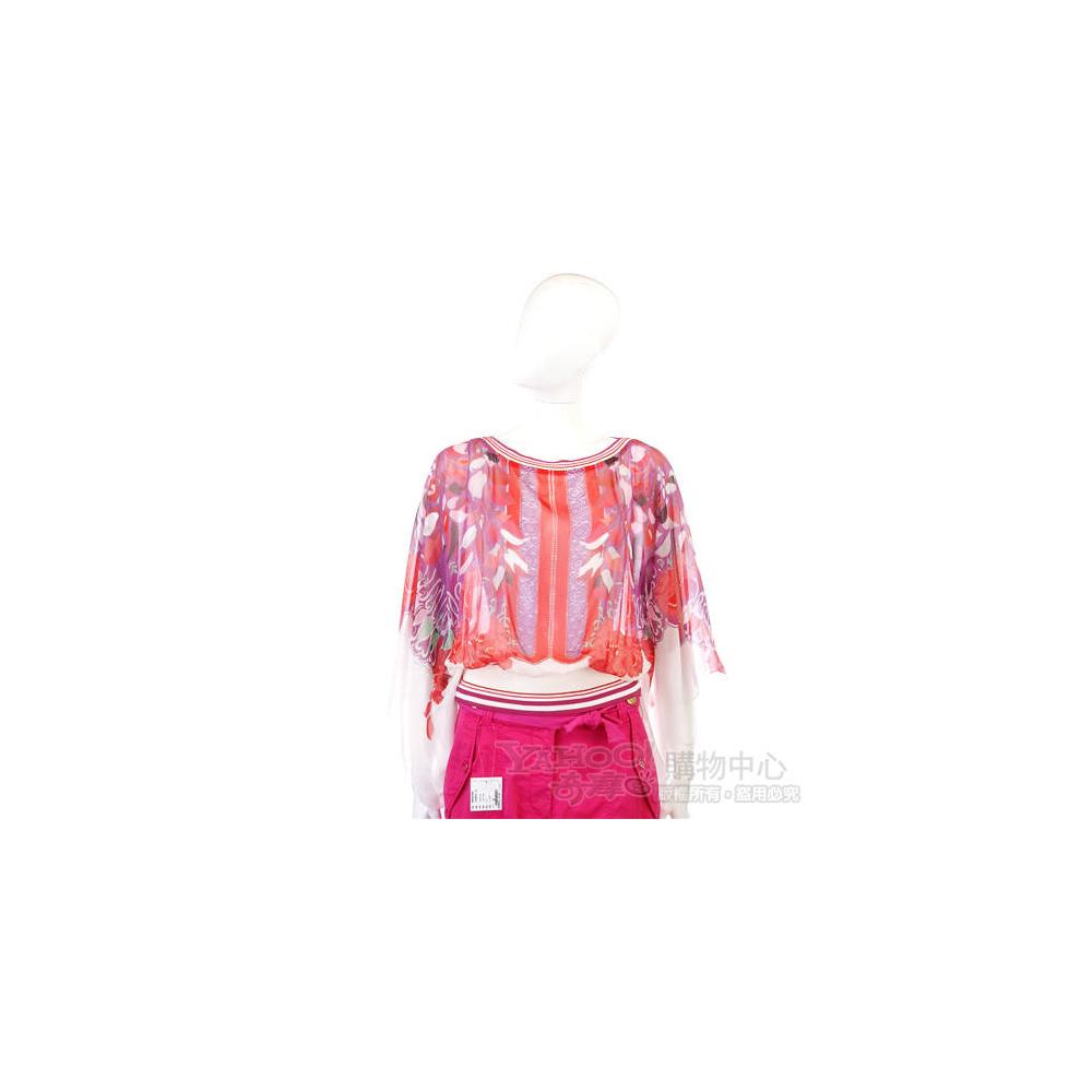 CLASS roberto cavalli 紫/紅色印花雪紡上衣