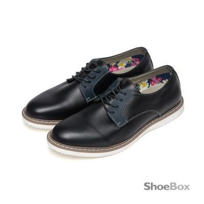 鞋櫃ShoeBox-摩登時代素色拼接繫帶休閒男鞋-爵士醇黑