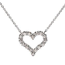 TIFFANY&Co. 經典HEARTS系列切割真鑽鑲嵌心型吊墜鉑金項鍊(小-銀)