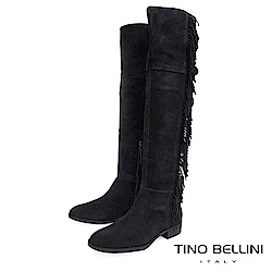 Tino Bellini 巴西進口不羈流蘇平底過膝靴_ 黑