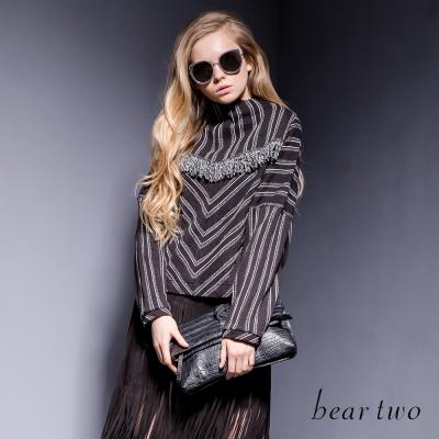 beartwo-船型立領連袖條紋流蘇造型上衣-二色