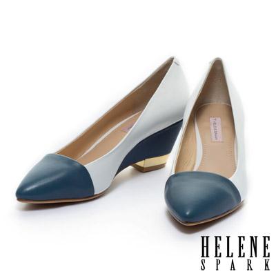 HELENE-SPARK-典雅撞色羊皮楔型電鍍高跟