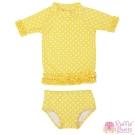 RuffleButts 小女童亮黃點點款荷葉邊短袖泳衣