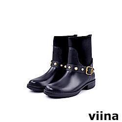 viina 俏皮珍珠短筒雨靴-深藍