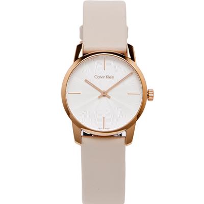 Calvin Klein 水波紋設計款手錶(K2G236X6)-水波紋面x粉膚色/31mm