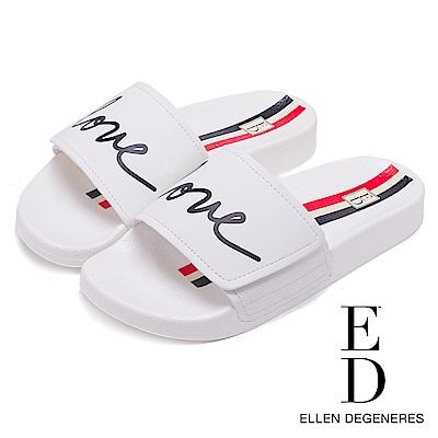 ED Ellen DeGeneres 潮流LOVE一字拖鞋-白色