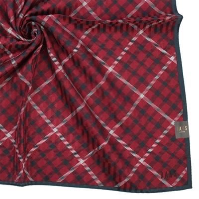 DAKS 英倫風經典大紅格純棉帕領巾-紅色