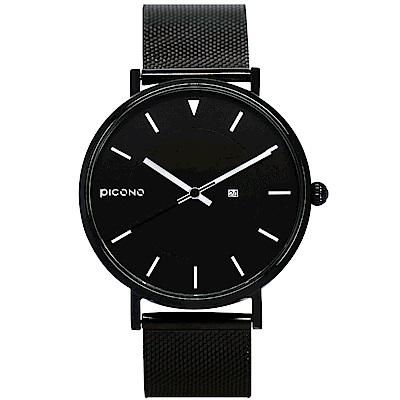 【PICONO】RGB 系列 輕薄黑色快拆式不鏽鋼網帶手錶 / RGB-6404 白色