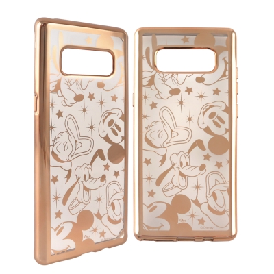 Disney迪士尼 三星Galaxy Note8時尚質感電鍍保護套-亂花滿版 米...