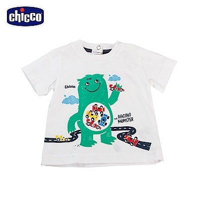 chicco-To Be Baby-賽車怪獸印花短袖上衣-藍(12個月-4歲)