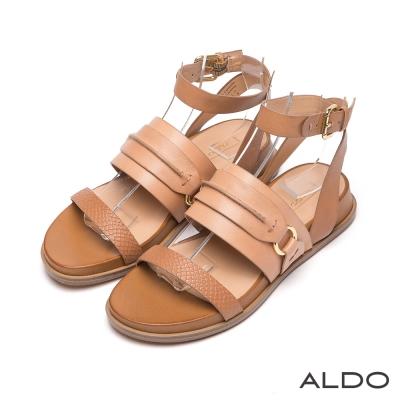 ALDO-原色真皮鞋面拼接蛇紋金屬繫踝涼鞋-個性駝色