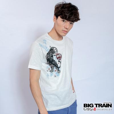BIG TRAIN 櫻花虎嘯圓領T-男-芽白