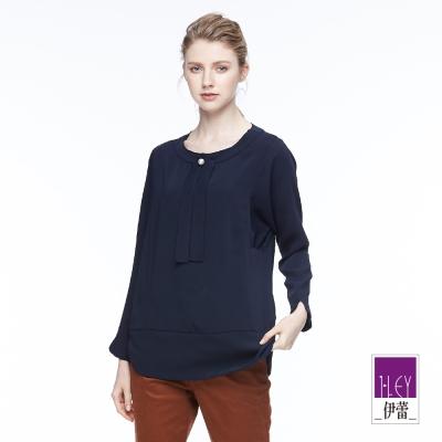 ILEY伊蕾 剪接繫領連袖上衣魅力價商品(米/藍)